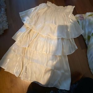 NWT NastyGal satin tiered high waist skirt S